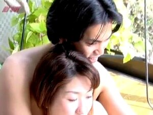 Yui Natsume gives fine blowjob in nature