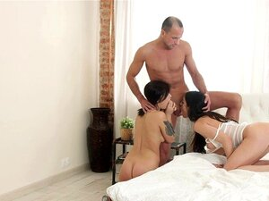 18 Videoz - Sharing cock is their hobby. Gina and Arwen do not need to decide who gets this handsome guy when they can both have him in a hot bisexual threeway
