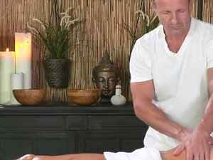 Masseur licks and fucks oiled babe, Experienced older masseur with gentle hands giving massage to stunning blonde babe then licking her pussy and fucking her oiled body till ass cumshot