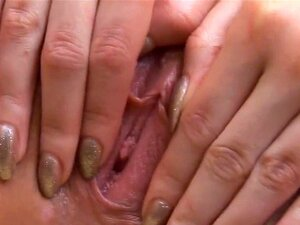 Erotic cutie is gaping narrow pussy in closeup and having orgasm. Steamy looker spreads trimmed yummy snatch in closeup and tickles her gorgeous physique while fingering till wild climax