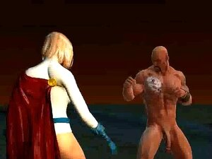 3D Powergirl lickced หีของเธอที่ได้รับ และระยำ