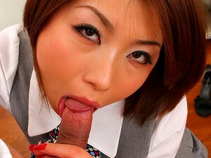 Tsubaki in Cute office lady called Tsubaki strikes and sucks cock again - AviDolz, Looking all cute and professional in her gray uniform Tsubaki is explaining their next business move to an older man. He gets tired and flops down so Tsubaki goes to the side and starts stripping in order to cheer him up. After performing a juicy strip tease, revealing her hairy cunt she wants to feel god and cum at least once so she is licked and made wet by the man. After Tsubaki is on her knees she pulls out the older colleagues sausage and is munching on it while making seductive sounds. After getting bent over the slim babe is getting hardcore plowed in multiple poses before her cunt is filled with cum.