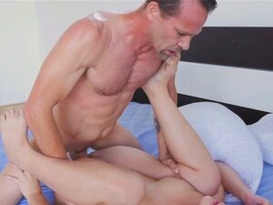 Stepdaddy lets Blair suck and fuck on his pipe