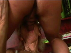 Skinny naughty blonde granny deep cock riding session
