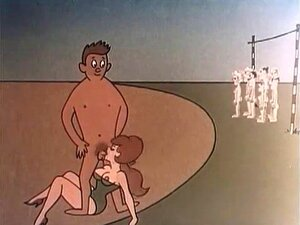History of sex and animated love. History of sex and animated love in a vintage animation video