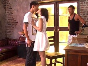 Gorgeous milf Wakaba Onoue sex with two younger males