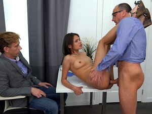Yan & Jeff & Jade in Fucked By The Husband&S Boss - SellYourGF, This guy fucked up at work really bad, but his beautiful wife sure knows how to make the angry boss forgive him. She has no panties on when they visit the office and next thing you know the boss has this hottie sucking his dick and fucks her good bent over his secretary s desk. Damn, that tight sexy pussy feels so good he is ready to promote her husband if he lets him fuck his wife once in a while.