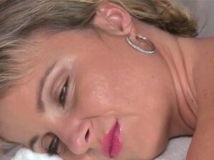 Masseur rubs pussy to blonde babe and fucks her. Masseur laid sexy blonde babe on a massage table and rubs oil to her sexy body then rubs her tits and pussy and fucks her oiled twat