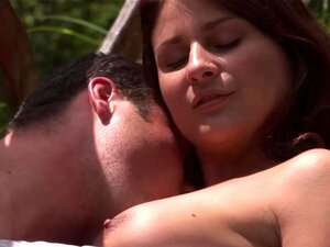 Chesty teen Bellina gets fucked outdoors. Big breasted brunette teen honey Bellina gets pussy fucked and jizzed outdoors