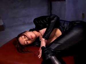 Asian leather fetish babe with bigtits toyed. Asian leather fetish babe with bigtits toyed with vibrator and dildo