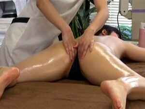 Subtitled JAV lesbian massage clinic prone treatment. JAV lesbian massage clinic featuring thick and pale oiled up student who first rests prone before positioning herself on all fours for a sensual inner thigh treatment with English subtitles